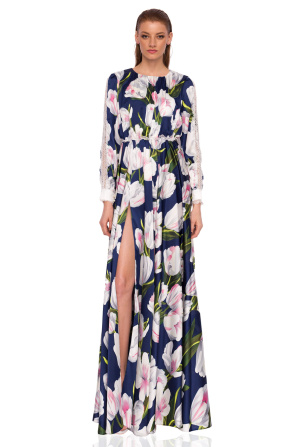 Maxi dress with tulip print and long slit