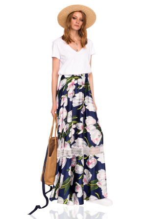 Maxi skirt with tulip print