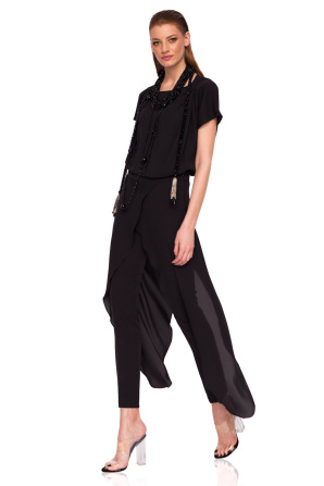 Elegant trousers with wrap fabric