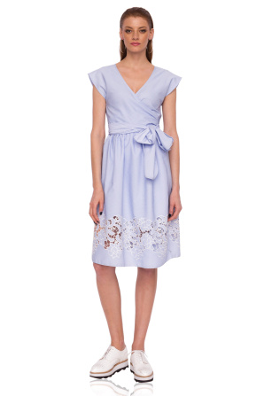 Wrap dress with waist belt