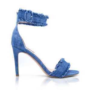 Heeled denim sandals