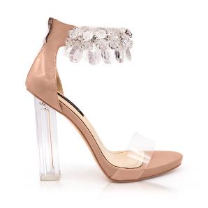 Sandale nude cu toc transparent