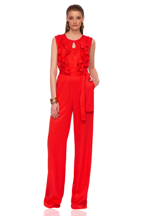 Elegant jumpsuit with ruffle details and waist belt