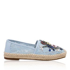Lace espadrilles with sparkling details