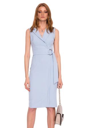 Wrap dress with V neckline