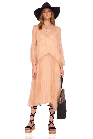 Loose silk dress with puffed sleeves