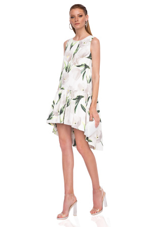 Asymmetric dress with floral print
