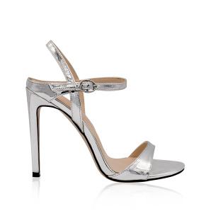 Metallic sandals with high heel