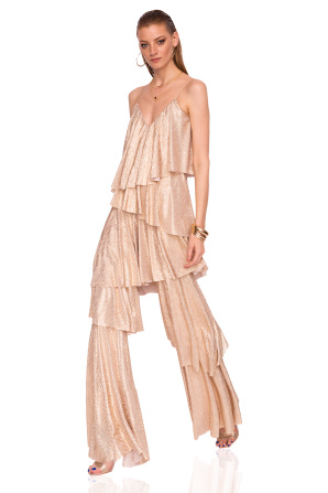Ruffle jumpsuit made of shiny fabric