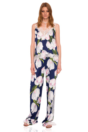 Loose trousers with tulip print