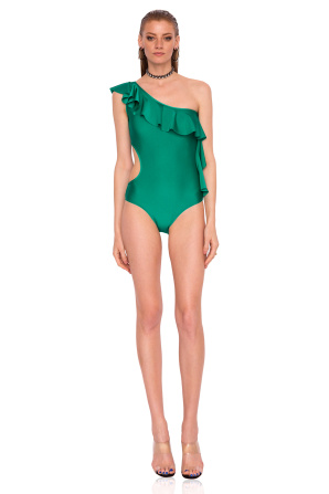 Swimsuit with side ruffle