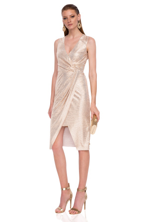 Drapped dress with metallic effect