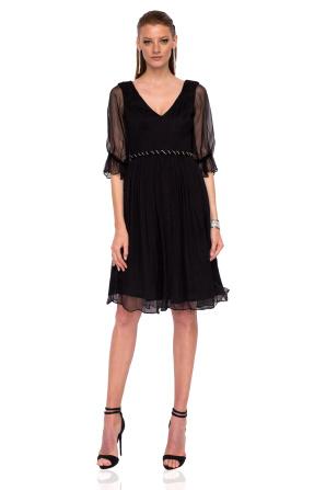 Midi silk dress with waist detail