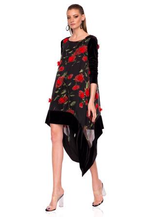 Asymmetrical dress with 3D flowers