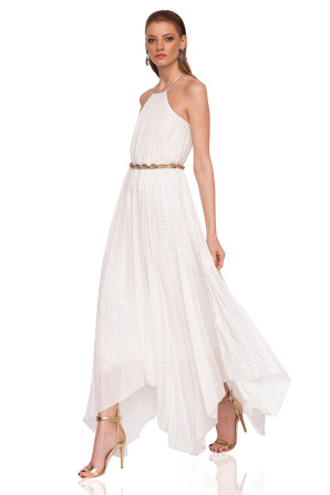 Asymmetrical dress with shiny waist detail