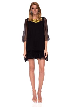 Silk dress with neckline detail