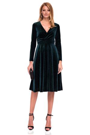 Flared velvet dress with V neckline