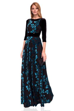 Rochie lungă elegantă cu imprimeu floral