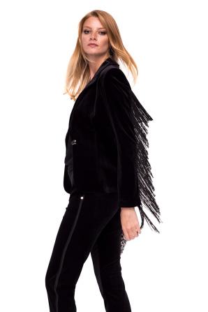 Velvet blazer with fringes