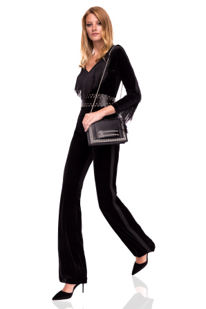 Straight velvet trousers with side stripe