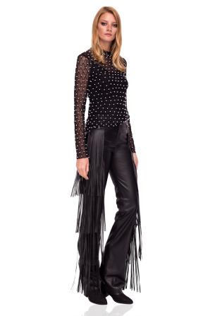 Pantaloni din piele eco cu franjuri aplicaţi lateral