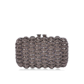 Metallic clutch with glass crystals