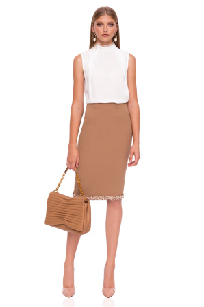 Midi skirt with pearl details