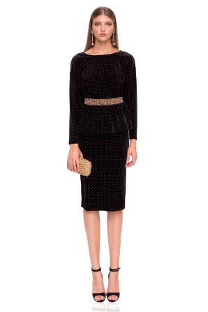 Midi elegant velvet skirt