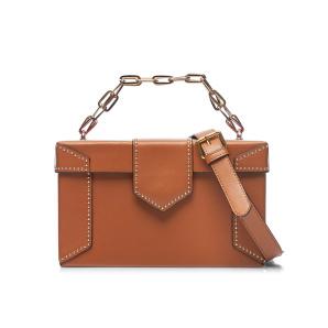 Leather bag with metallic studs