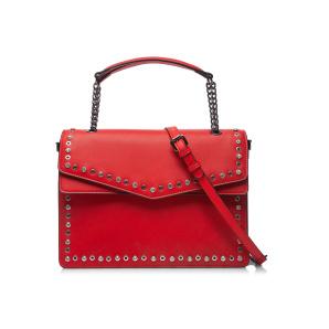 Leather bag with metallic chain