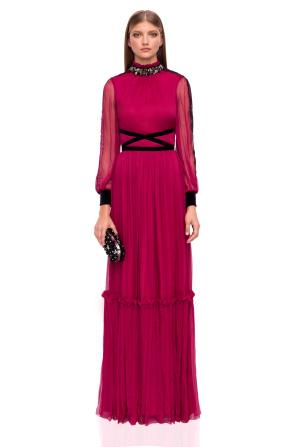 Maxi silk dress with waist detail