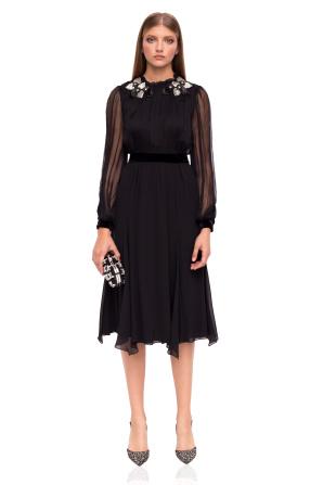 Midi silk dress with neckline details