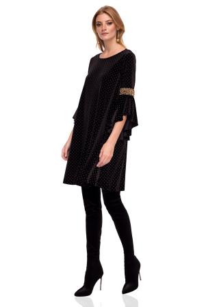 Velvet dress with bell sleeves