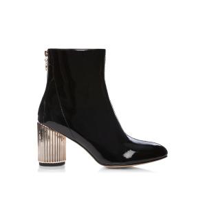 Patent booties with metallic heel