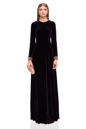 Maxi velvet dress with golden details