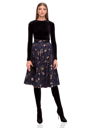Midi skirt with floral details