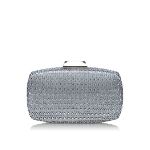 Silver clutch with stones