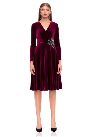 Rochie cloş din catifea