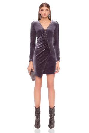 Mini velvet dress with V neckline