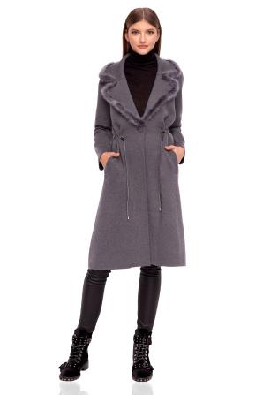 Midi cardigan with natural fur details