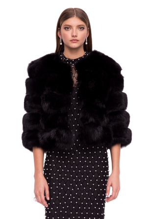 Fur jacket with 3/4 sleeves