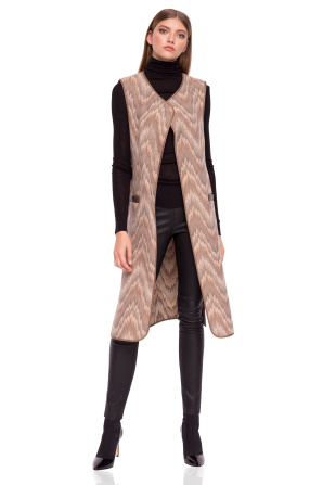 Midi vest with ecological leather details
