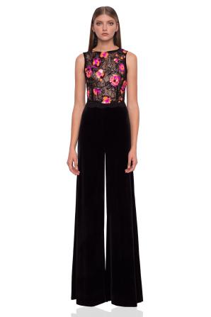 Velvet jumpsuit with sequins