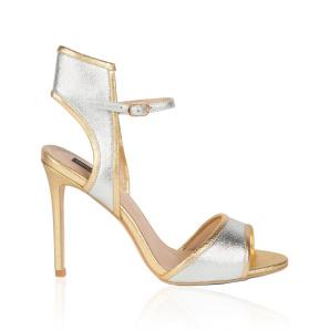 Silver elegant heeled sandals