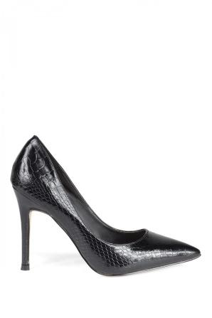Pantofi stiletto negri cu textura lucioasa