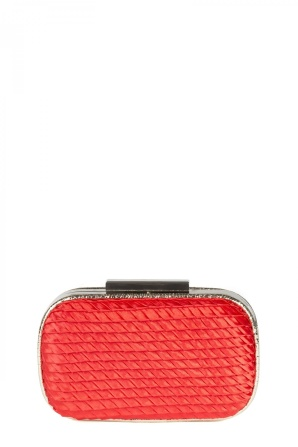 Red clutch from textured fabric