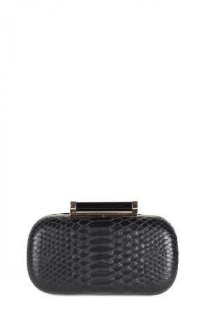Croc textured clutch with golden details