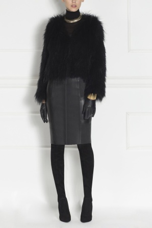 Raccoon real fur black coat