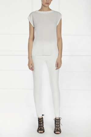 High waisted white pants