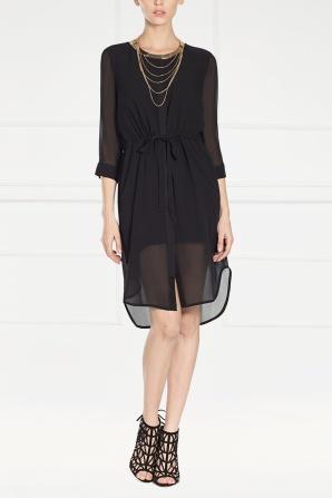 Black silk midi dress